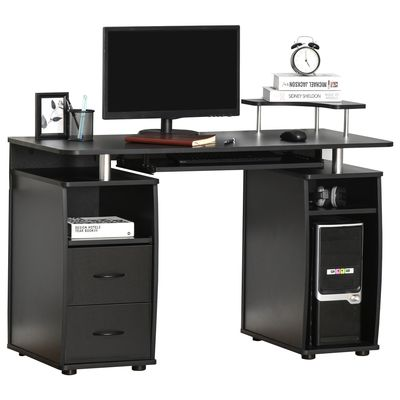 HOMCOM Computer Office Desk PC Table Workstation with  Keyboard Tray  CPU Shelf  Drawers  Sliding Scanner Shelf  Black