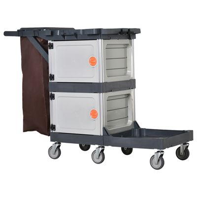 HOMCOM Commercial Janitorial Cleaning Cart Housekeeping Trolly for Hotel  Restaurant