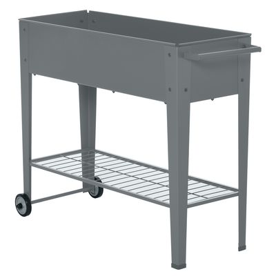"""Outsunny 41"""" x 15"""" x 32"""" Raised Garden Bed Elevated with 2 Wheels, Bottom Shelf for Storing Tools, & Water Drainage Hole, Grey"""