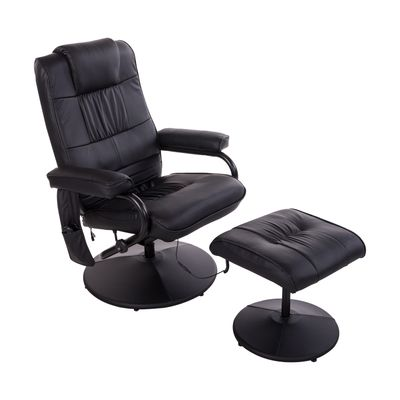 HOMCOM Massage Recliner Ottoman Set Electronic Swivel Armchair with Wrapped Base and Matched Footrest 10 Vibration Modes Black