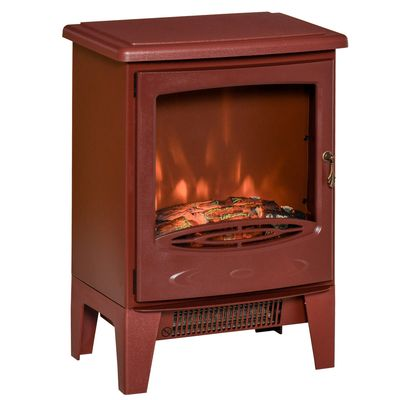 HOMCOM Electric Fireplace Stove, Free standing Fireplace Heater with Realistic Flame Effect, Overheat Safety Protection, 750W/1500W, Red