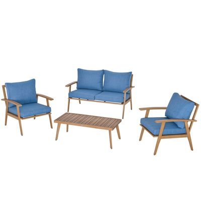 Outsunny 4-Piece Patio Furniture Set Outdoor Conversation Set with Coffee Table Loveseat Blue Cushions Aluminium Frame