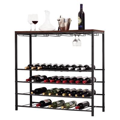 HOMCOM Industrial 40 Bottles Wine Rack w/ Stemware Storage Wood Free-standing Displayer