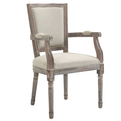 HOMCOM Fabric Dining Chair Vintage Solid Wood Frame for Living Room  Kitchen Upholstered Seat  Cream White