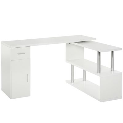 HOMCOM L-Shaped Rotating Computer Desk Home Office Study Workstation with Storage Shelves, Cabinet and Drawer for Home & Office, White