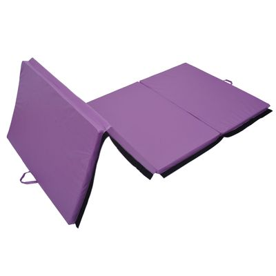 Soozier 4ftx10ftx2inch PU Leather Gymnastics Tumbling Gym Mat Arts Folding Yoga Exercise Pad 4 Panel (Purple, 4' x10')