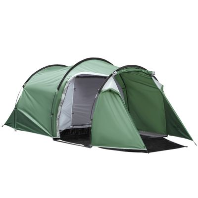 Outsunny Camping Dome Tent 2 Room for 3-4 Person with Weatherproof Screen Room Vestibule Backpacking Tent Lightweight for Fishing & Hiking Dark Green