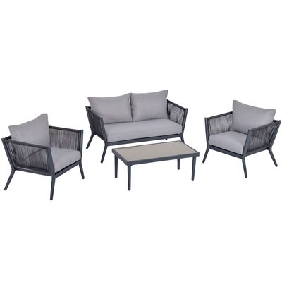 Outsunny 4 PCs PE Rattan Wicker Sofa Set Outdoor Conservatory Furniture Lawn Patio Coffee Table w/ Cushion Light Grey