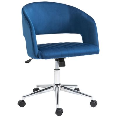 Vinsetto Leisure Office Chair Velvet Fabric Swivel Moon Shape Computer Desk Chair Home Study Bedroom with Wheels  Blue