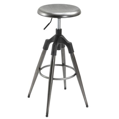 HOMCOM Industrial Backless Bar Stool Metal Swivel Seat Adjustable Height  Silver