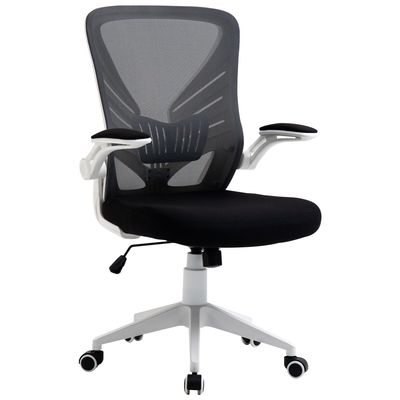 Vinsetto Mesh Office Chair Swivel Task Desk Chair with Lumbar Back Support, Flip-Up Arm, Adjustable Height, Grey Black