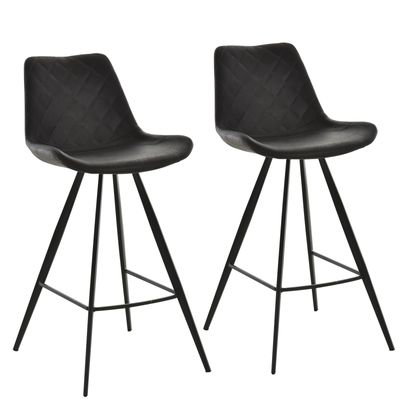 HOMCOM Set of 2 Bar Chairs Cozy Seat Metal Leg Foot Protector Sturdy Black