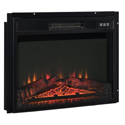 """HOMCOM 23"""" Electric Fireplace Insert for Wooden Cabinet, Recessed Fireplace Heater with Realistic Log Flames, Adjustable Brightness, 1400W, Black"""