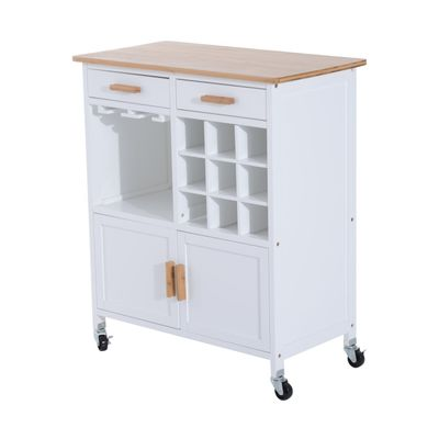 HOMCOM Portable Kitchen Trolley with Bamboo Top Storage Cabinet and Wine Rack (White)