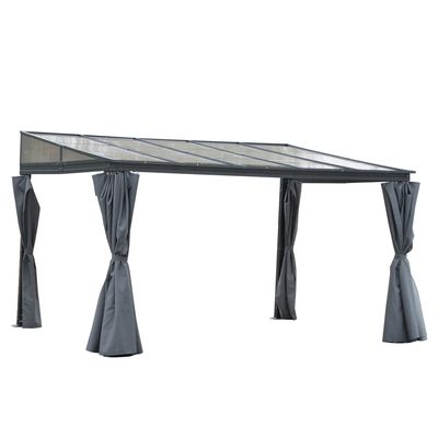 Outsunny 13' x 9.5' Outdoor Hardtop Pergola PC Roof Gazebo Party Tent Garden Sun Shelter Waterproof and UV protection with Curtains, Grey