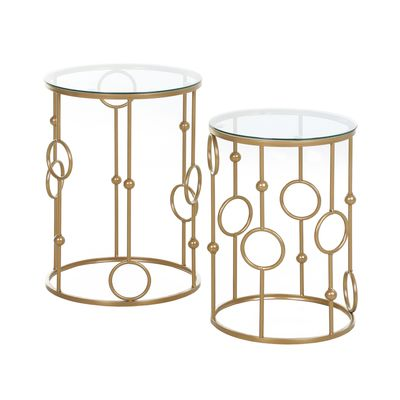 HOMCOM Round Coffee Tables Set of 2, Gold Nesting Side End Tables with Tempered Glass Top, Steel Frame for Living Room