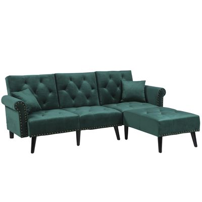 HOMCOM Modern Fabric Sectional Sofa Bed Set  Double Sofa and Chaise Lounge with Adjustable Backrest and 2 Removable Cushions  for Living Room Waiting Room  Dark Green