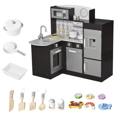 Qaba Black Kids Kitchen Play Cooking Toy Set for Children with Drinking Fountain, Microwave, and Fridge with Accessories Black