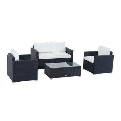Outsunny Patio Sectional with Cushions 4pcs Outdoor Rattan Wicker Sofa Set Outdoor Furniture
