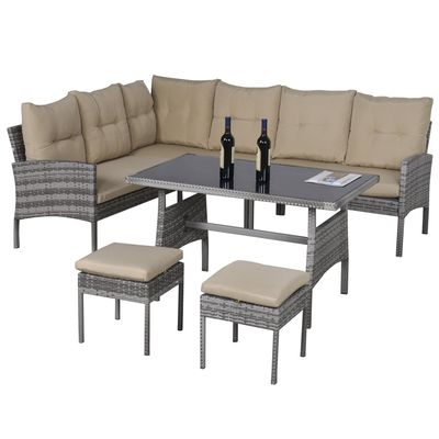 Outsunny 6 PCS Outdoor Patio Dining Table Sets All Weather PE Rattan Sofa Chair Furniture set Indoor Outdoor Backyard Garden with Cushions Khaqi