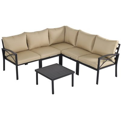Outsunny 6-Piece Patio Furniture Set L-Shape Corner Sectional Sofa Set with Coffee Table Cushions Beige