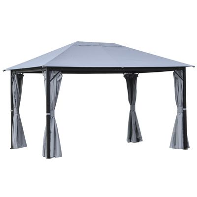 Outsunny 13' x 10' Gazebo Canopy Party Tent Shelter with Steel Frame  Curtains  Netting Sidewalls  Light Grey