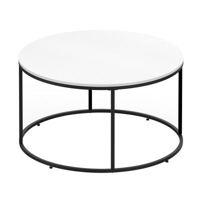 HOMCOM Round Coffee Table Sofa Side Table with a Modern Design, Black Metal Frame and Easy Maintenance, White