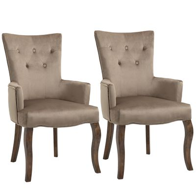 HOMCOM Set of 2 Button Tufted Dining Chairs High Back Accent Chairs with Upholstered Seat, Solid Wood Legs for Living Room, Kitchen, Study, Khaki
