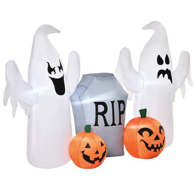 HOMCOM 4ft Halloween Inflatable Ghosts with Tombstone and Pumpkin, LED Lighted for Home Indoor Outdoor Garden Lawn Decoration Party Prop