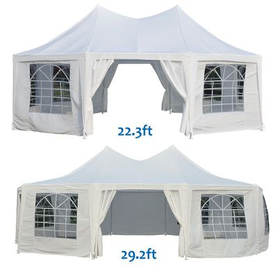 Outsunny Octagonal Party Tent Wedding Event Shelter Outdoor with Removable Walls White