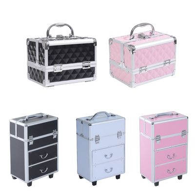 HOMCOM Professional Rolling Makeup Case Salon Beauty Cosmetic Jewelry Organizer Trolley with 2 Wheels
