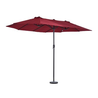 Outsunny 15' Outdoor Patio Umbrella with Twin Canopy Sunshade Steel Table Umbrella with Lift Crank Red
