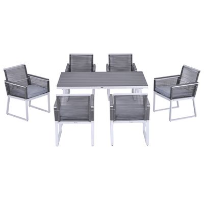 Outsunny 7 PCS Dining Set with 6 PE Rattan Cushioned Chairs & 1 Rectangle Table, Modern Outdoor Patio Furniture for Poolside, Porch, Patio, Balcony, Indoor
