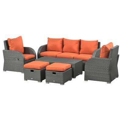 Outsunny 6pc Wicker Sectional Set Cushioned Outdoor Rattan 3-Seat Sofa  2 Adjustable Recliners  2 Footstools & Table Set Patio Furniture Orange