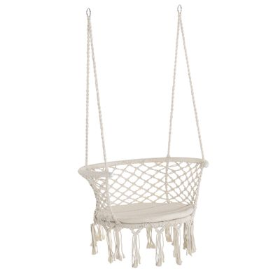 Outsunny Hanging Hammock Chair Cotton Rope Porch Swing with Metal Frame and Cushion, Large Macrame Seat for Patio, Garden, Bedroom, Living Room, Cream White