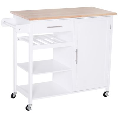 HOMCOM Kitchen Trolley Serving Cart Rolling with Drawer and Open Shelf White