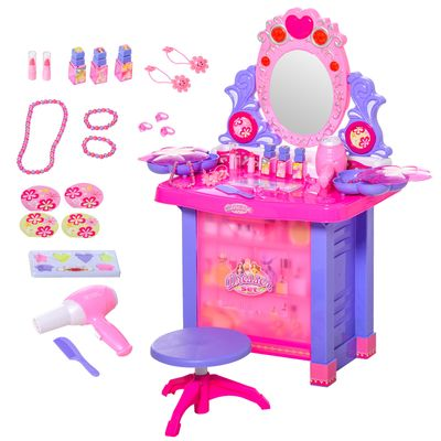 Qaba Kids Vanity Table & Stool Pretend Playset Dressing Table Set with Mirror Light Sound Working Hair Dryer Makeup Accessories for Toddlers Girls Age 3 to 6 Years Old