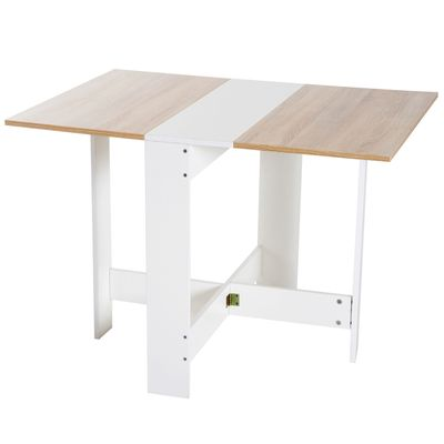 HOMCOM Drop Leaf Table Wood Folding Dining Table Multi-Use Side Table Dining Desk Space Saving Home Furniture White/Oak