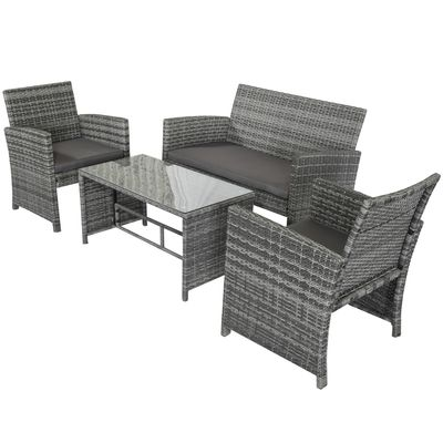Outsunny 4Pcs Rattan Sofa Set Patio Wicker Furniture Conversation Set Garden Lawn Chair with Table & Cushion Deep Grey