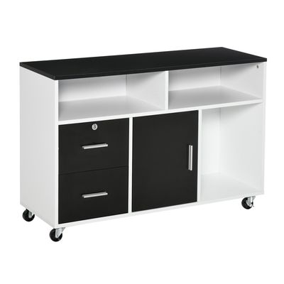 HOMCOM Printer Stand Home Office Mobile Cabinet Organizer with Castors  Lockable Drawer