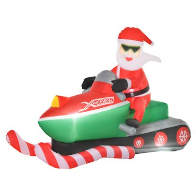 HOMCOM 5.2ft Christmas Inflatable Santa Claus with Snowmobile, LED Lighted  for Home Indoor Outdoor Garden Lawn Decoration Party Prop