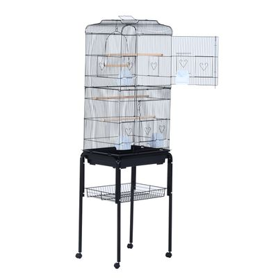 """PawHut 63"""" Rolling Bird Cage Macaw Cockatoo House Parrot Play Top Finch Pet Supply with Wheels Black"""