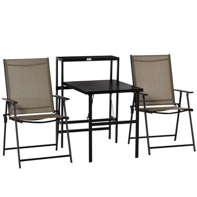 Outsunny 3 Pcs Folding Garden Furniture Set, Foldable Table and 2 Chairs Set w/ Side Shelf, Metal Frame, Indoor Outdoor Patio Balcony