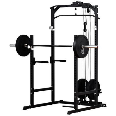 Soozier Heavy Duty Multi-Function Power Tower Rack Cage Exercise Workout Station Strength Training w/ Stand Rod for Home Gym