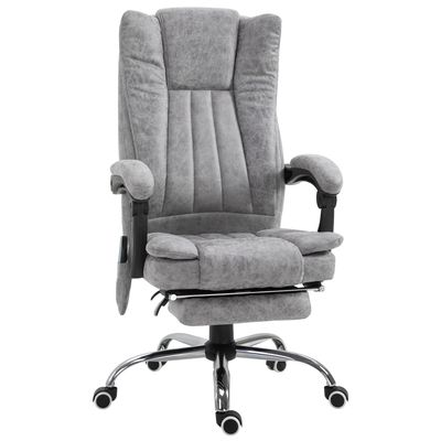 Vinsetto Vibration Massage Chair Faux Leather Recliner with Retractable Footrest Grey