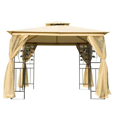 Outsunny 10'L x10'W Gazebo Canopy Waterproof Sun Shade Sunshelter 2-tier UV Protect for Outdoor Patio, Beige