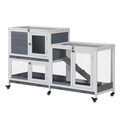 """PawHut Wooden Rabbit Hutch Elevated Pet House Bunny Cage Small Animal Habitat with Slide-out Tray Lockable Door Openable Top for Indoor 57.75"""" x 18"""" x 34.75"""" Grey"""