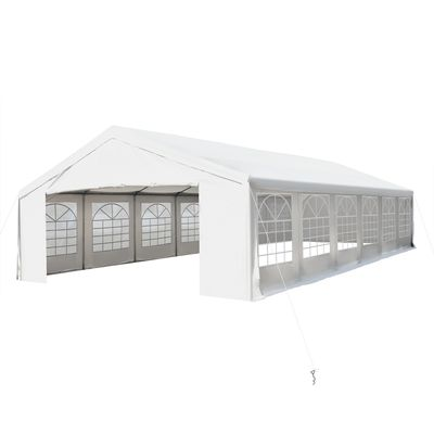 Outsunny 40'x20' Heavy-duty Large Outdoor Carport Garage Wedding Party Event Tent Patio Gazebo Canopy with Removable Sidewall, White