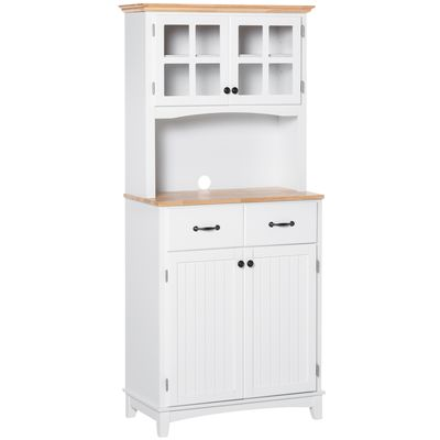 HOMCOM Coastal Style Kitchen Buffet and Hutch Wooden Storage Cabinet with Framed Glass Door  Drawers Microwave Space for Dining Room  Living Room  White