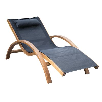 Outsunny Outdoor Wood Chaise Lounge Chair Recliner Patio Camping with Headrest, Teak & Black